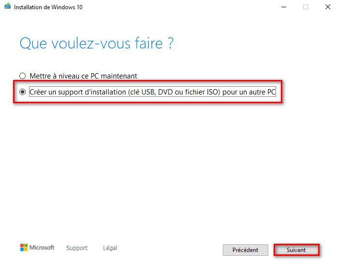 Créer un support d'installation Windows 10 pour un autre PC