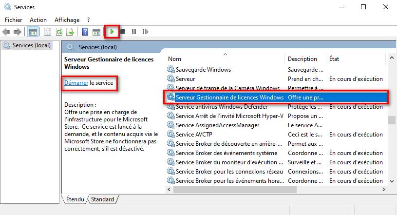 Démarrer les services du Microsoft Store sous Windows 10