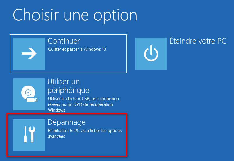 Dépannage options avancées de Windows 10