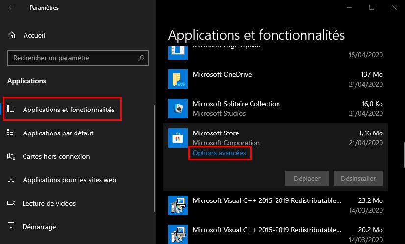 Options avancées du Microsoft Store dans les Paramètres Windows