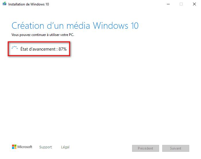 Outil création de média téléchargement de Windows 10