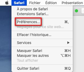 Ouvrir les préférences de Safari