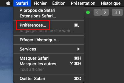 Ouvrir les préférences du navigateur Safari