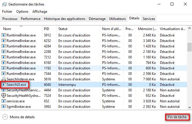 Redémarrer le processus de Windows Search