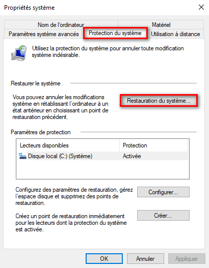 Restauration du système Windows 10