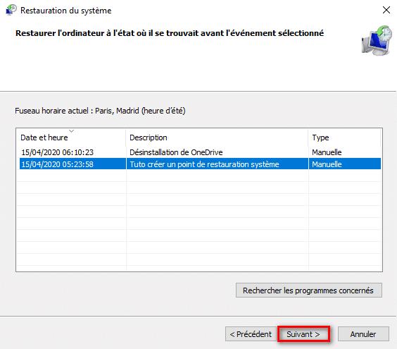Restaurer Windows 10 avec un point de restauration à une date antérieure