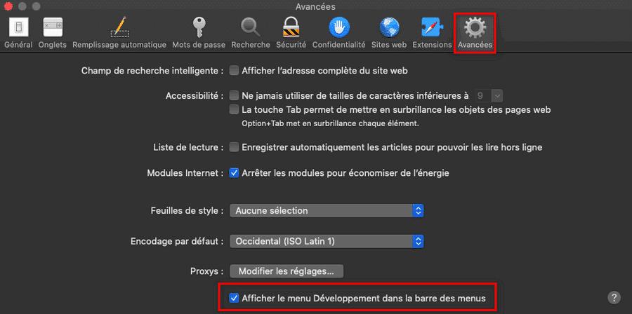 Activer le menu Développement dans la barre des menus de Safari