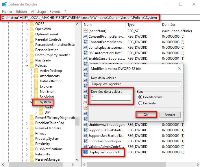Afficher les informations de dernière connexion utilisateur