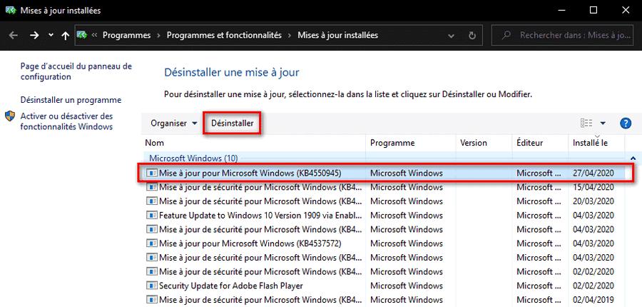 Désinstaller mise à jour Windows 10