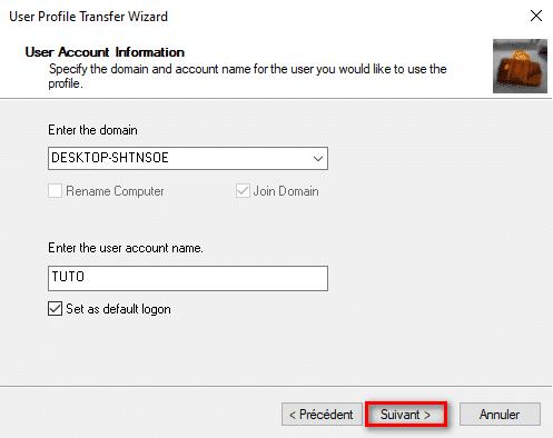 Import profil utilisateur Windows