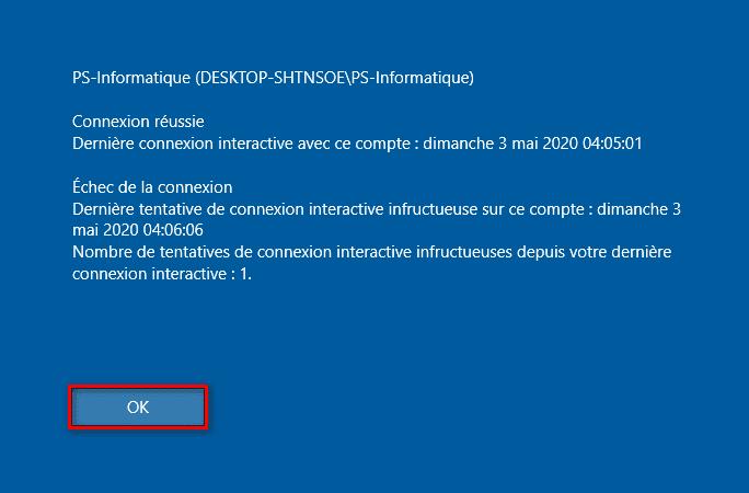 Informations sur les ouvertures de session utilisateur précédentes Windows 10