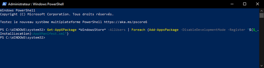 Réenregistrer l'application Microsoft Store avec PowerShell