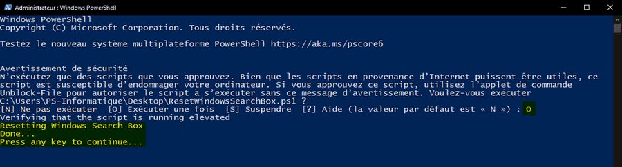 Réinitialiser la recherche Windows 10 avec PowerShell