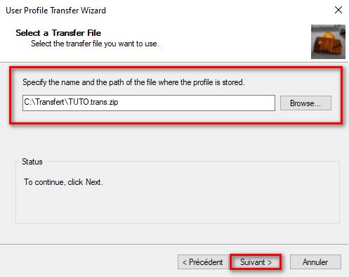 Sélection du dossier d'import utilisateur