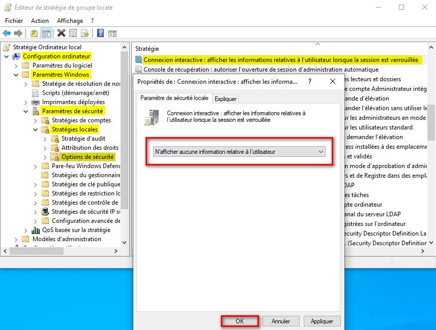 Supprimer les informations de connexion utilisateur au démarrage de Windows 10