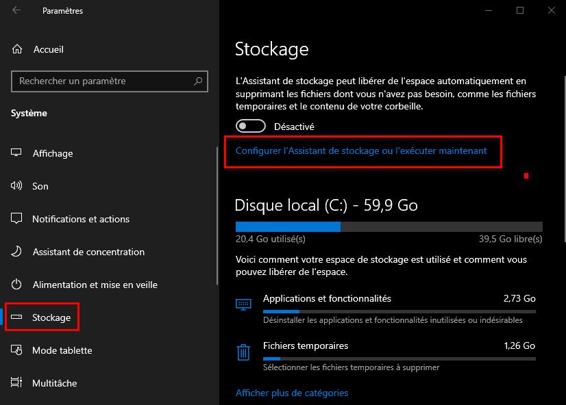 Configurer l'Assistant de stockage de Windows 10