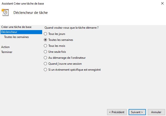 Fréquence du déclencheur de tâche Windows