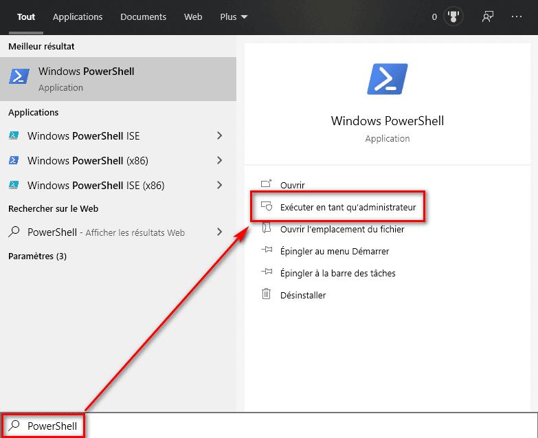 Ouvrir PowerShell en tant qu'administrateur sur Windows 10