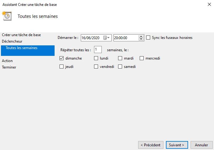 Réglages du nettoyage automatique du disque dur chaque semaine