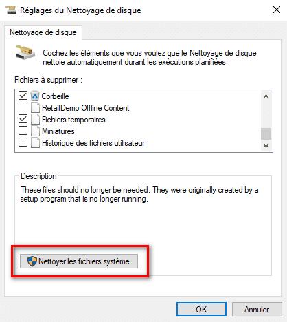 Réglages nettoyage de disque Windows