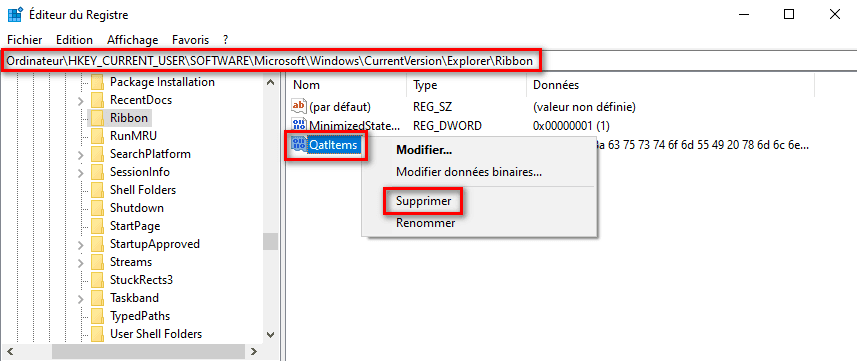 Réparer accès rapide dans Windows 10 avec l'Éditeur du Registre