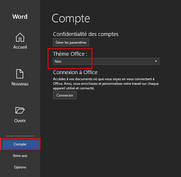 Activer le thème sombre dans Microsoft Office