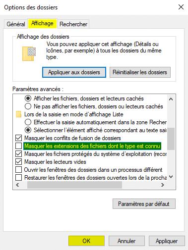 Afficher les extensions des fichiers dans les options des dossiers de Windows 10