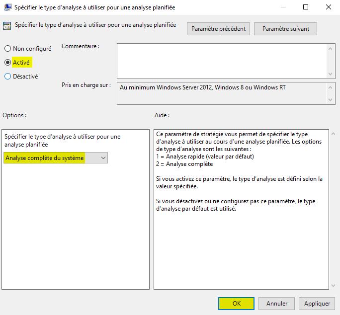 Analyse planifiée complète du système par Microsoft Defender