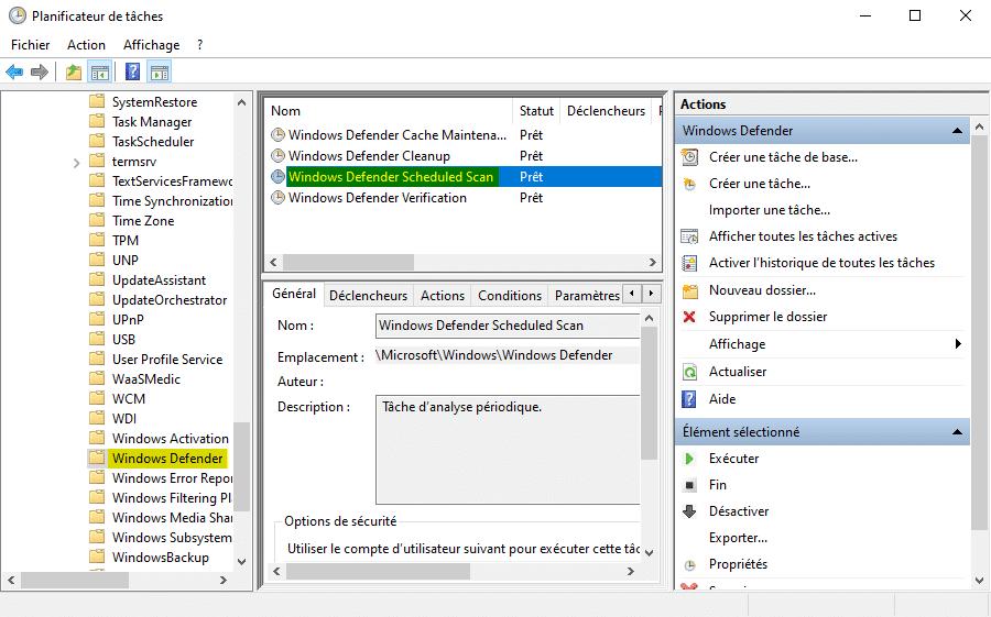 Analyse planifiée de Microsoft Defender dans le Planificateur de tâches