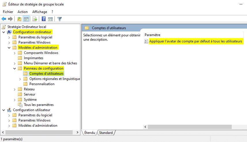 Appliquer avatar de compte par défaut à tous les utilisateurs
