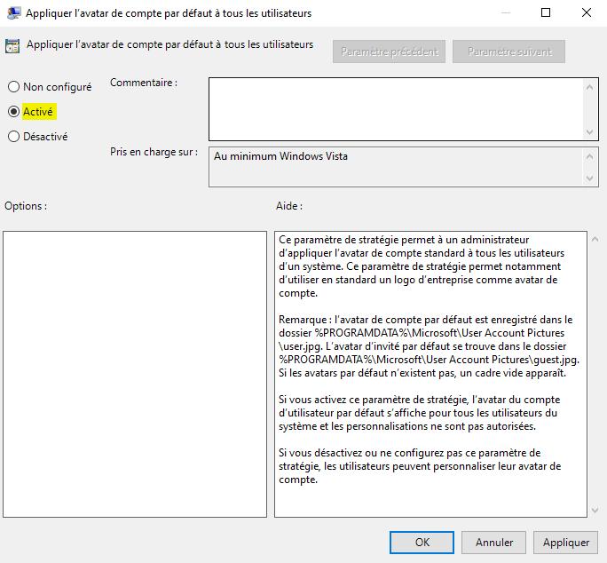Avatar de compte utilisateur Windows par défaut