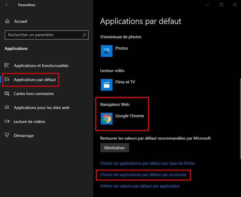 Changer le navigateur Web par défaut sous Windows 10