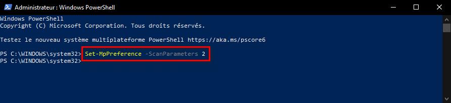 Changer le type d'analyse planifiée de Microsoft Defender avec PowerShell