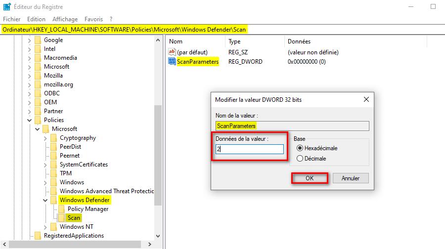 Changer le type d'analyse planifiée de Microsoft Defender via regedit