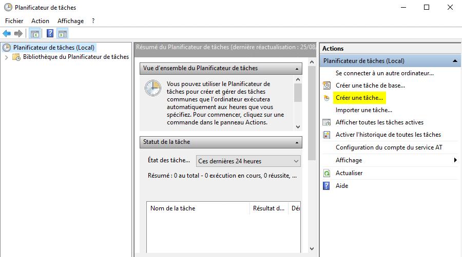 Créer une tâche dans le planificateur de tâches Windows