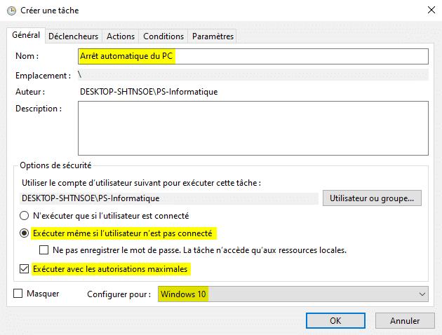 Créer une tâche pour programmer un arrêt de son ordinateur