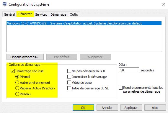 Démarrer Windows 10 en mode sans échec avec l'outil Configuration du système