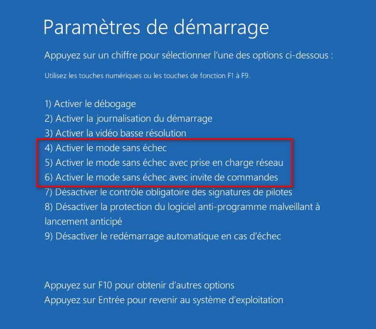 Démarrer Windows 10 en mode sans échec dans les paramètres de démarrage