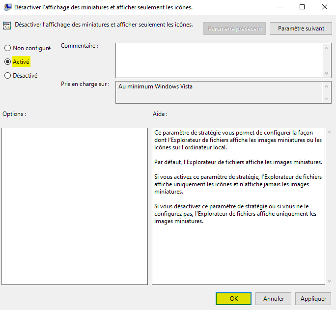 Désactiver l'affichage des miniatures dans l'Explorateur de fichiers Windows