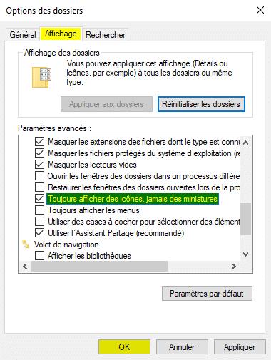 Désactiver l'aperçu des miniatures dans l'Explorateur de fichiers sous Windows 10