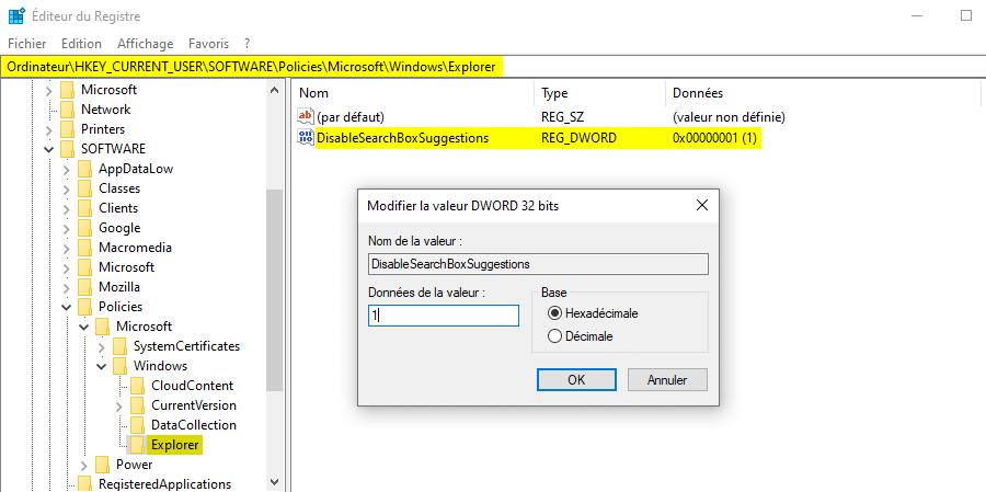 Désactiver la recherche Bing sur Windows 10 via regedit
