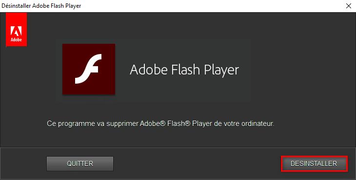 Désinstaller Adobe Flash Player complètement