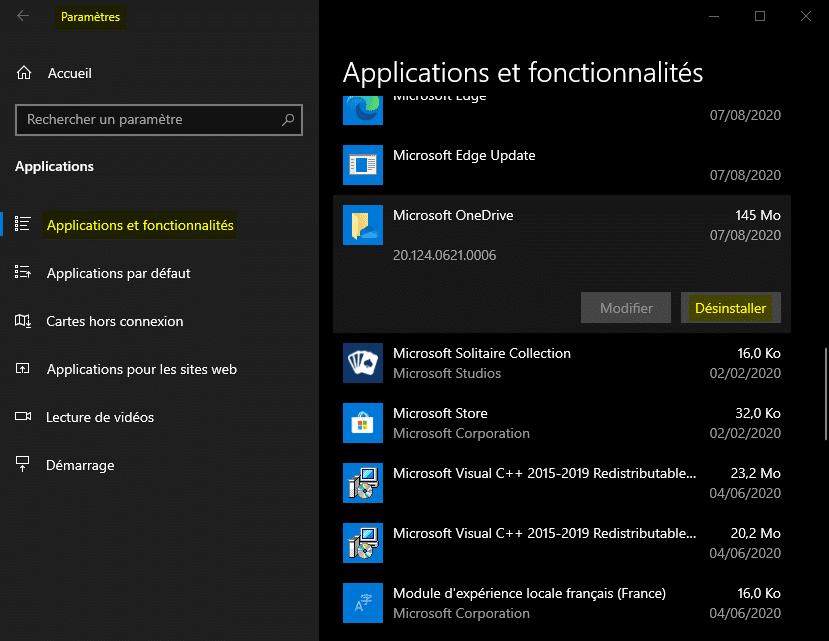 Désinstaller une application sur Windows 10