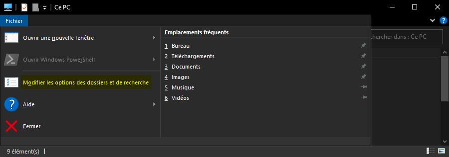 Modifier les options des dossiers et de recherche de Windows 10