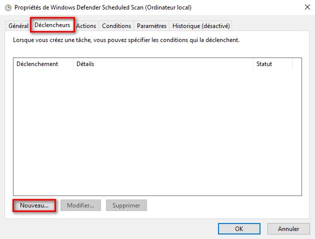 Nouveau déclencheur pour Microsoft Defender dans le planificateur de tâches