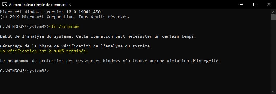 Outil Vérificateur des fichiers système Windows