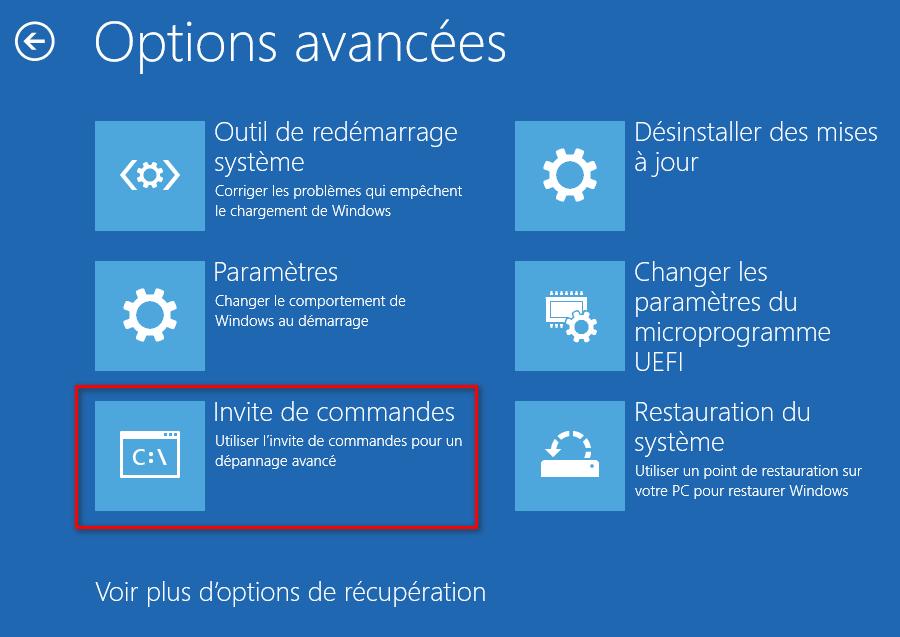 Ouvrir une invite de commandes dans les options de démarrage avancées de Windows 10