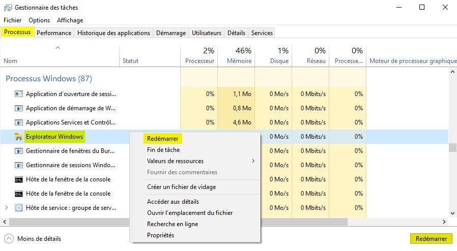 Redémarrer l'Explorateur Windows depuis le Gestionnaire des tâches