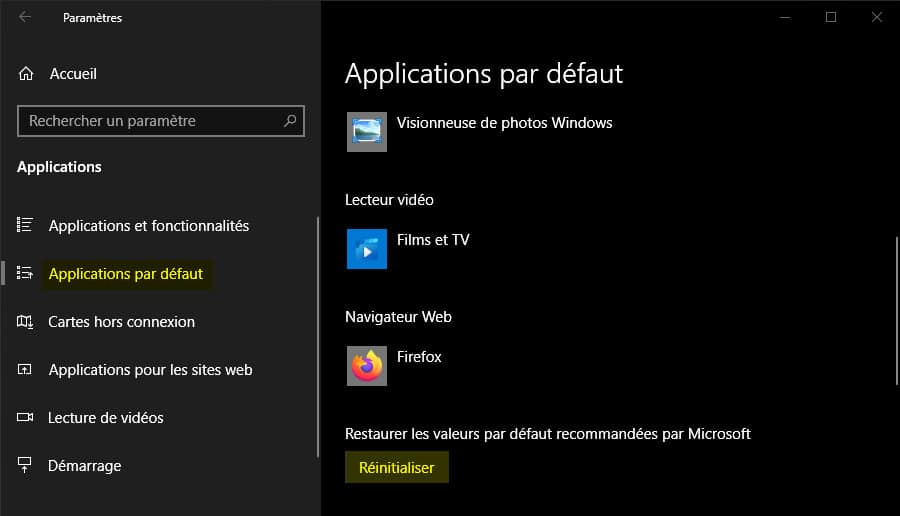 Réinitialiser les associations de fichiers par défaut sur Windows 10