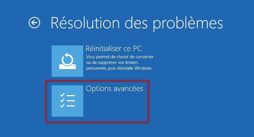 Résolution des problèmes dans l'écran des options de démarrage avancées